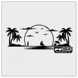 """Sticker """"Beach with 1941"""" für Dashboard Wrangler JL"""