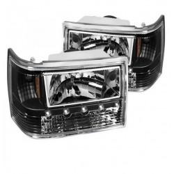 Scheinwerfer schwarz mit LED Standlicht Spyder