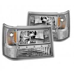 Scheinwerfer chrom mit LED Standlicht Spyder