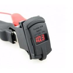 Kippschalter-Blende mit 2 USB-Ports, Volt-Anzeige & wahlweise roter oder blauer Beleuchtung